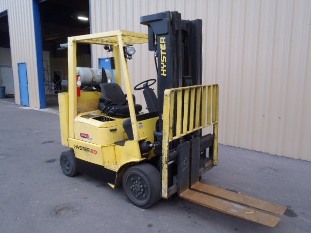 Hyster Forklifts S80XMBCS 8000lb Cushion Solid Tire Propane Forklift With Box Car Special Counterweight 2005