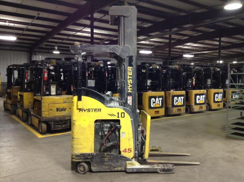 Hyster Forklifts N45ZR Electric Stand Up Rider 4500lb Reach Forklift 2012