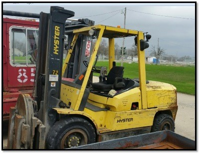 Hyster Forklifts H120XM Diesel Pneumatic Tire 12,000lb Forklift With Rotator 2006