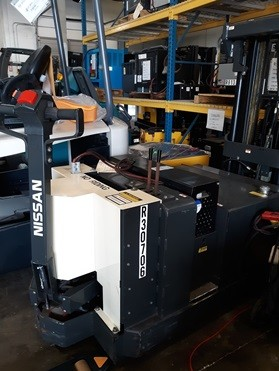Nissan WCN40 electric walk behind counterbalanced 4000lb stacker forklift