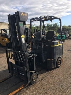 Bendi B30/42E180D electric 4 wheel sit down rider 3000lb very narrow aisle articulating side loading forklift.