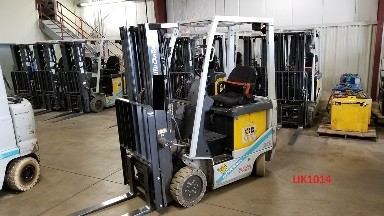Nissan Unicarriers BX35 EE rated 3500lb sit down rider 4 wheel electric cushion solid tire warehouse forklifts.