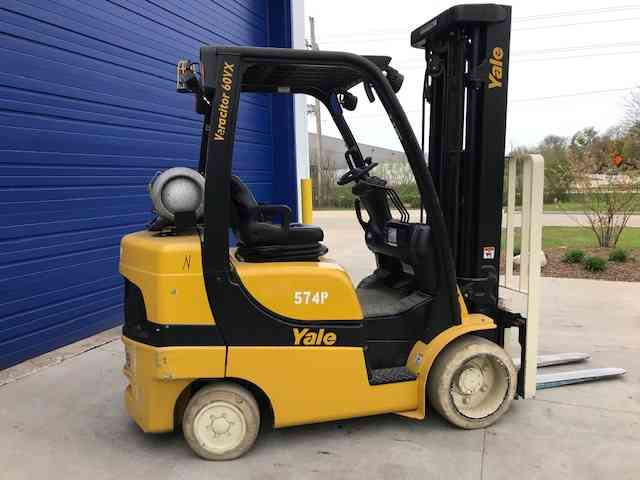 Yale GLC060VX 6000lb cushion solid tire propane fuel indoor warehouse forklifts