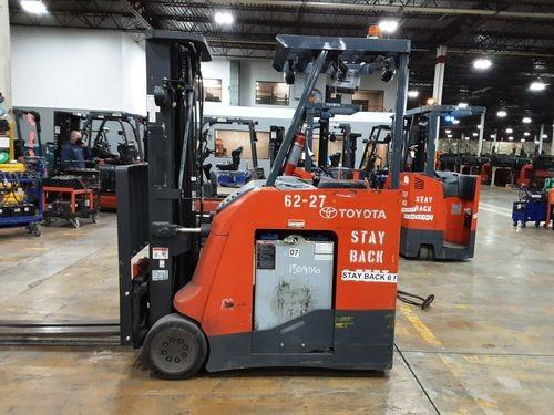 Toyota 8BNCU20 narrow aisle electric 4000lb stand up rider counterbalanced warehouse forklifts