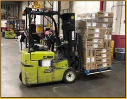 CLARK TMX15S electric narrow aisle 3000lb sit down rider 3 wheel warehouse forklift