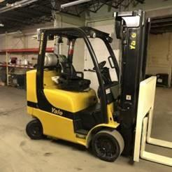 Yale GLC080VXN 8000lb propane fuel warehouse forklift with solid cushion tires