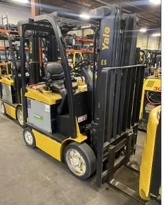 Yale ERC045VG electric 4 wheel sit down rider 4500lb warehouse forklifts