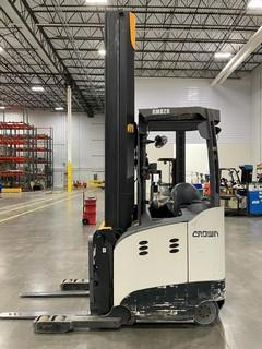 Crown RM6095S-45 narrow aisle 4500lb electric stand up rider warehouse reach truck