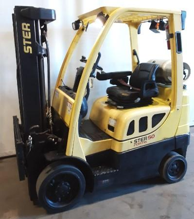 Hyster S50FT 5000lb propane fuel solid cushion tire warehouse forklift